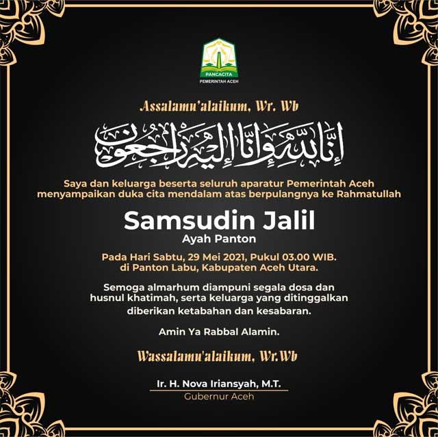 Ucapan Belasungkawa Samsudin Jalil (Ayah Panton) – Pemerintah Aceh